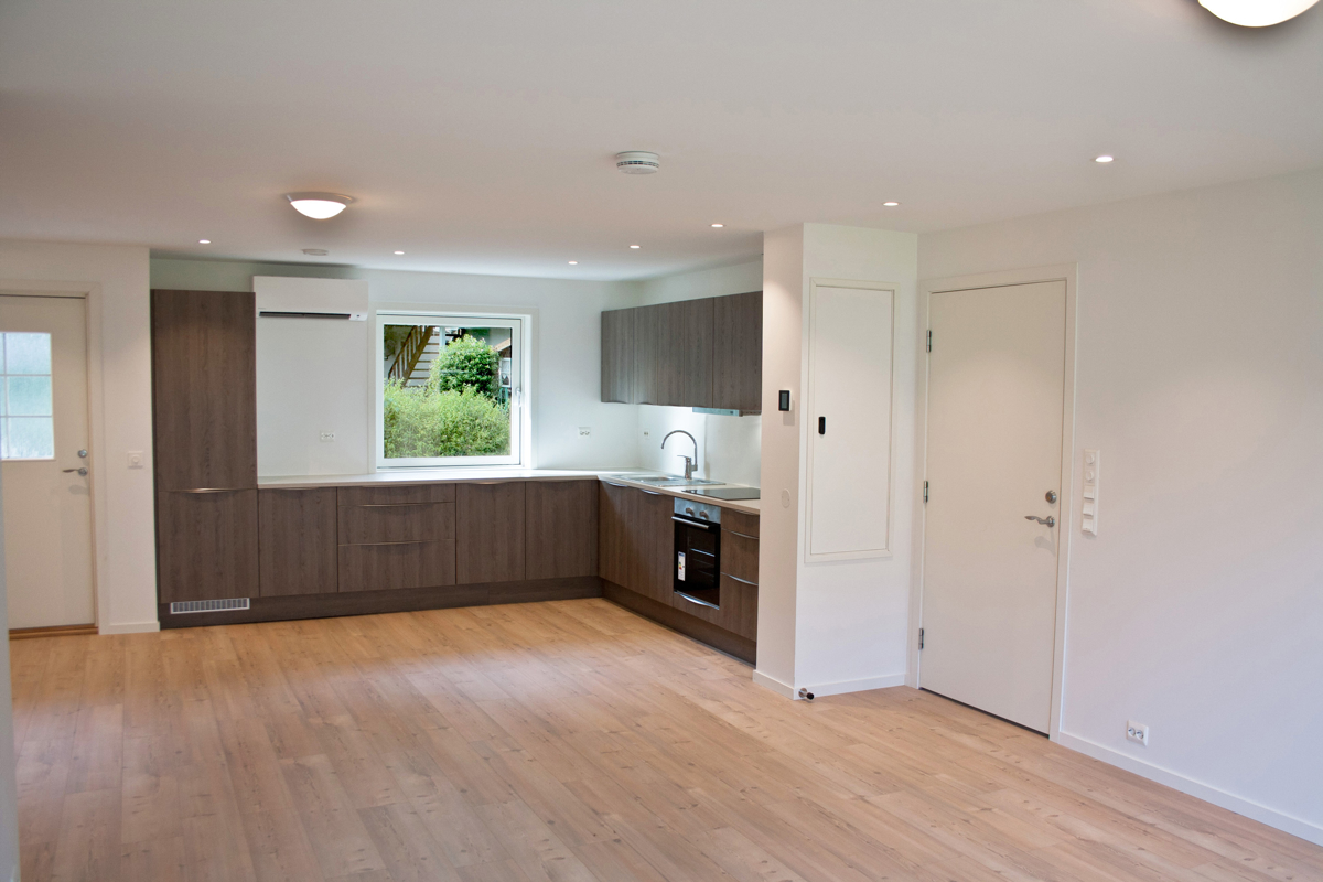 Stue og kjøkken i ett