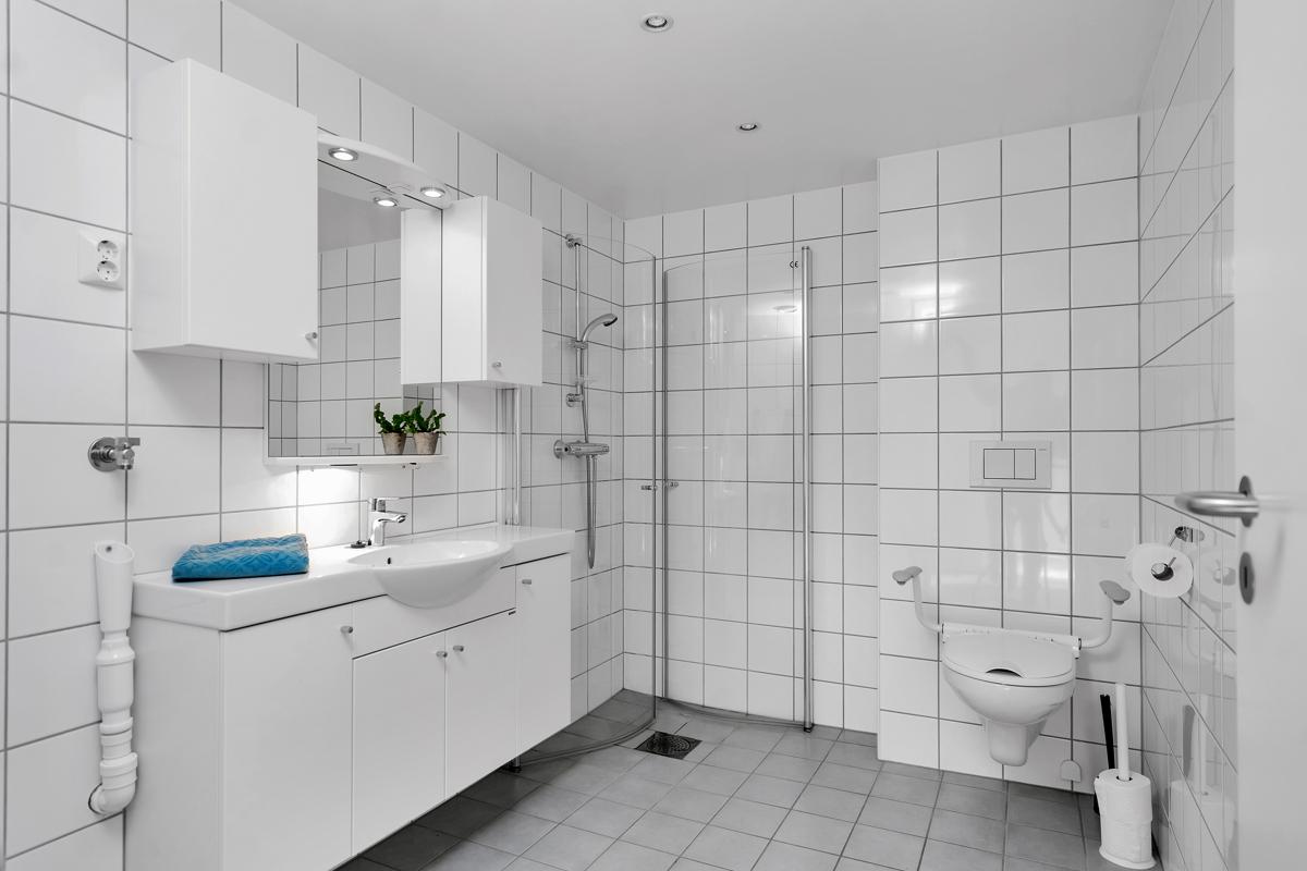 Baderom med dusj, servant og toalett.