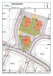 Situasjonskart, prosjektet består av tre eneboliger