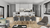 Illustrasjon fra modell A - Det er fliser innenfor kjøkkenet, ikke parkett som vist på bilde