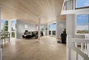 Fra stuen er det utgang til en flott terrasse der utsikten kan ta pusten fra deg.