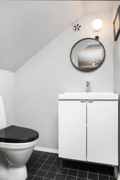 Oppusset rom med toalett og vask i underetasjen