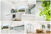 Kjøkken med velholdt innredning og spiseplass. Her er det også utgang til terrassen