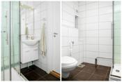 Badet er ifølge eier oppgradert 2011. Badet har fliser med varmekabler på gulv, fliser på vegger og malt panel i tak. Rommet er innredet med dusjkabinett, baderomsinnredning på 60 cm med heldekkende servant, speil og lys over