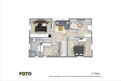 2. Etasje med 3 soverom, stort omkledningsrom/bod, bad og stue