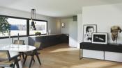 Illustrasjon fra kjøkken/stue i eneboligen