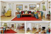 Stor stue med meget god plass til både stor sofagruppe og spiseplass