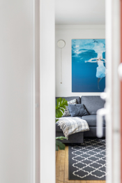 Detaljbilde fra balkongen mot stuen
