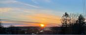 Nydelig solnedgang fra terrassen.