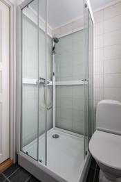 Badet er innredet med toalett, dusjkabinett og innredning med servant.