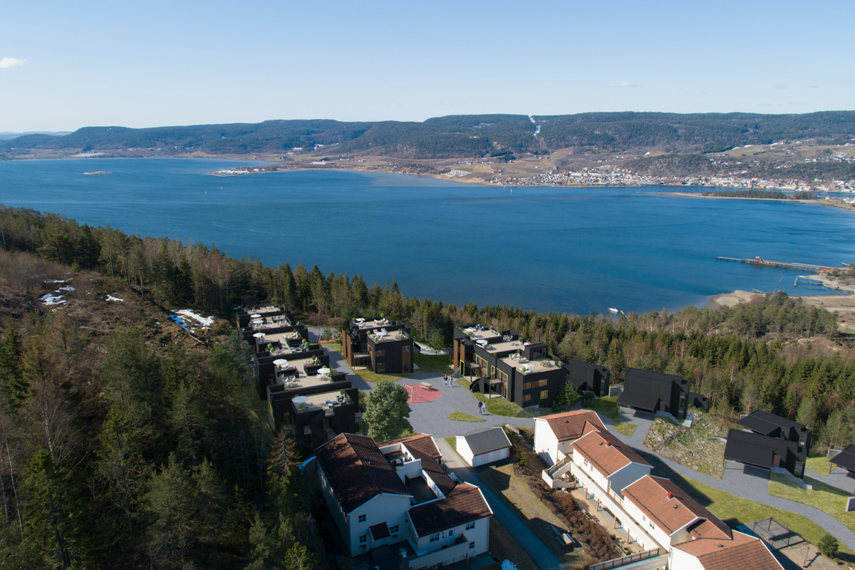 Høydefoto av prosjektet med utsikt utover Drammensfjorden