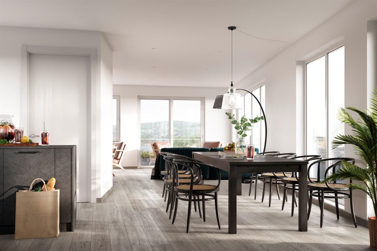Lys og åpen løsning på stue og kjøkken - illustrasjonsfoto - avvik vil forekomme