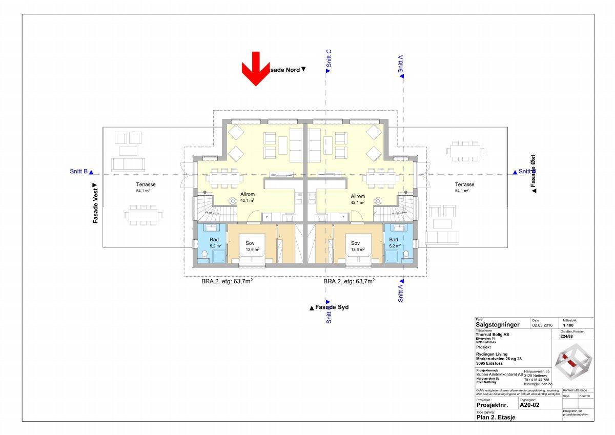 Plantegning 2 etasje (boligen til venstre)