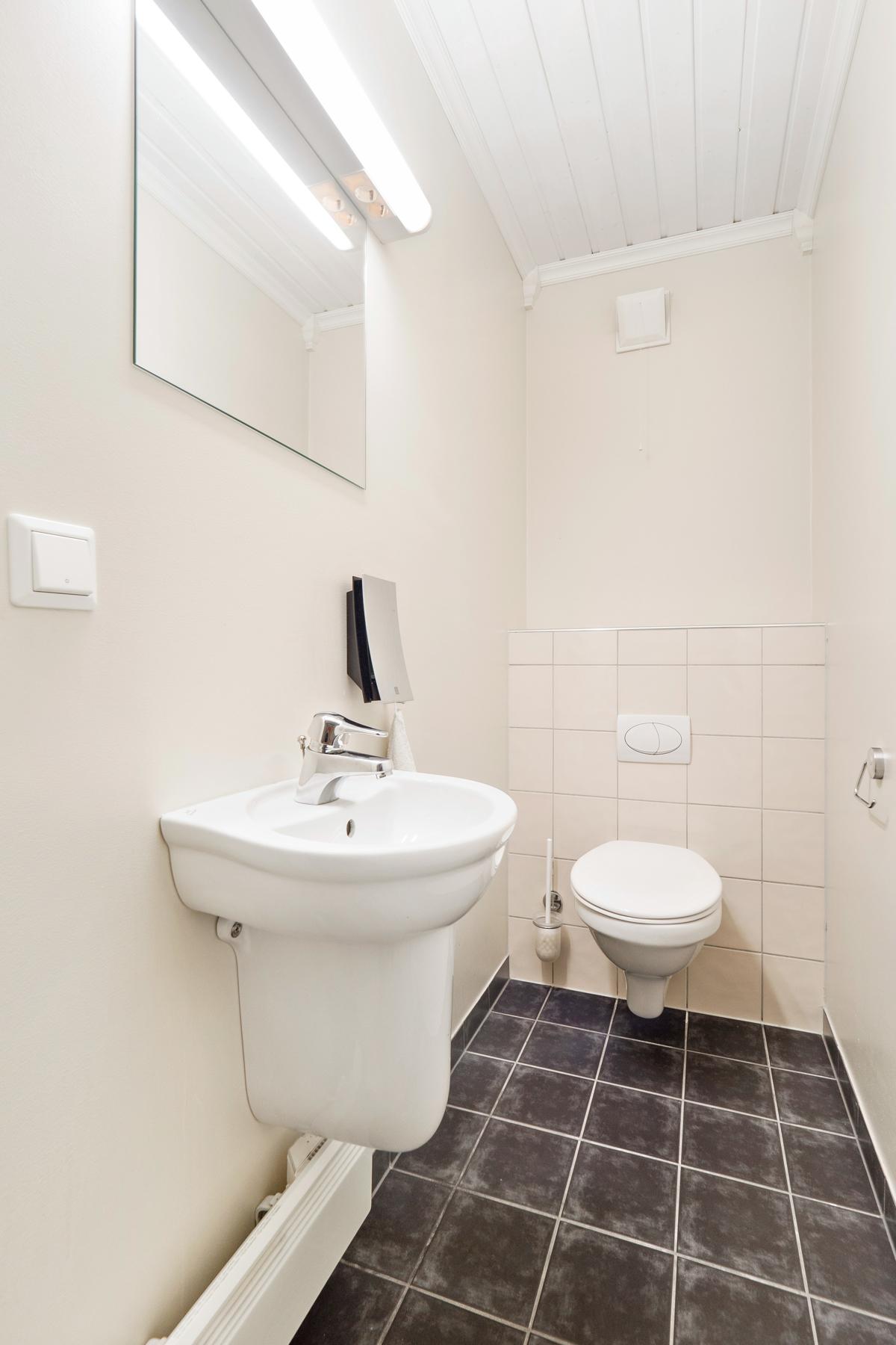 Separat toalettrom i underetasjen med wc og servant
