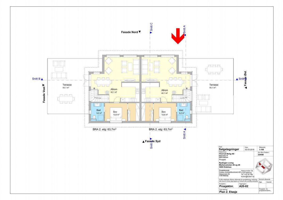 Plantegning 2 etasje (boligen til høyre)