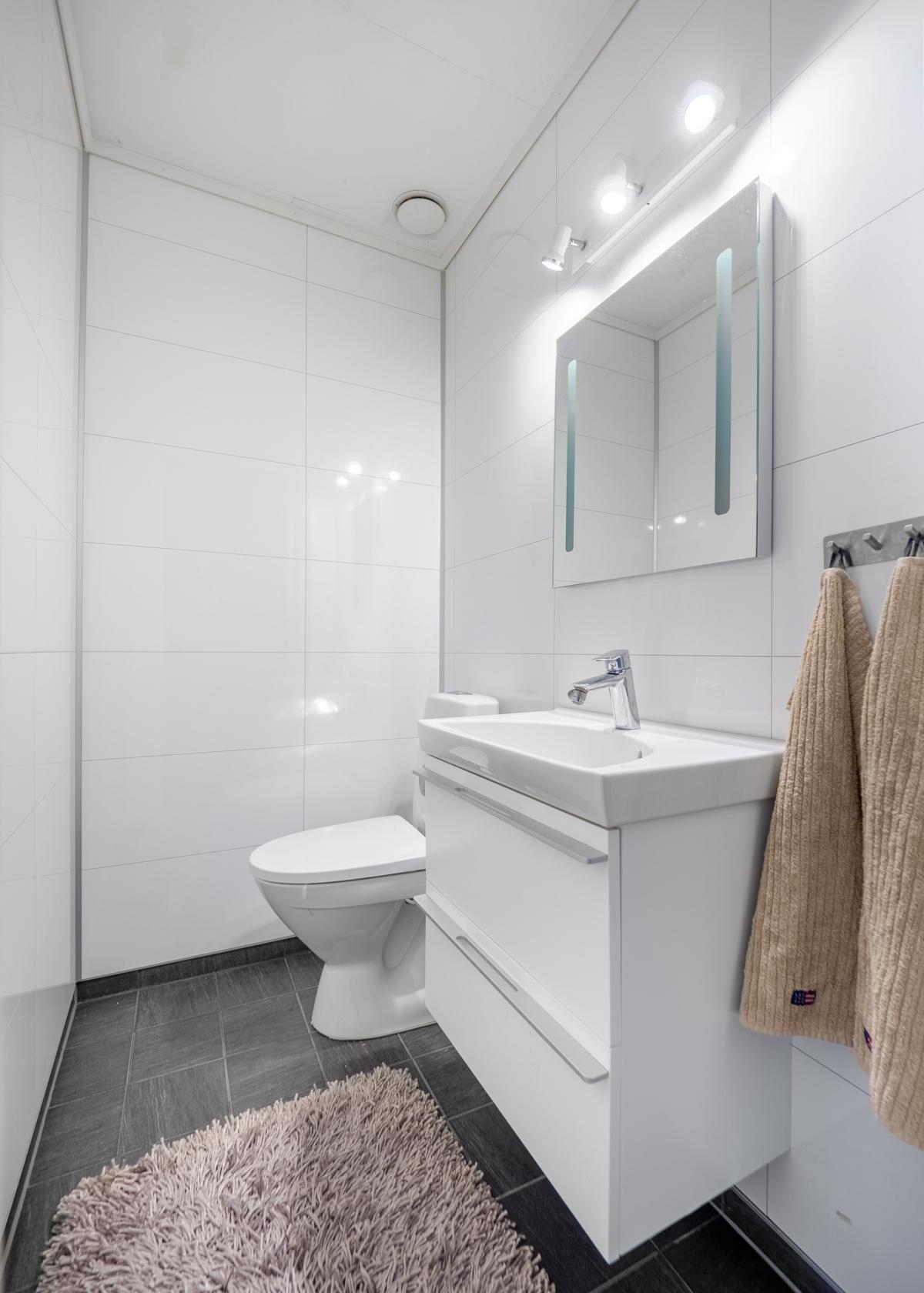 Separat toalett med wc og servantinnredning