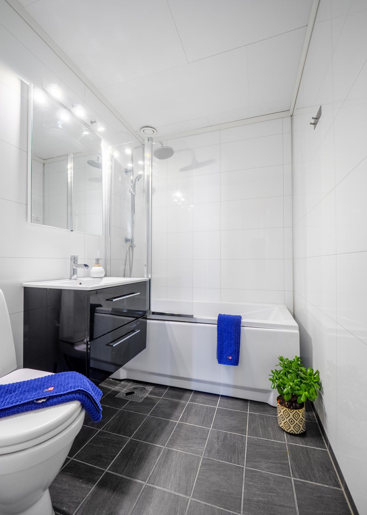 Bad med wc badekar med dusjløsning og servantinnredning