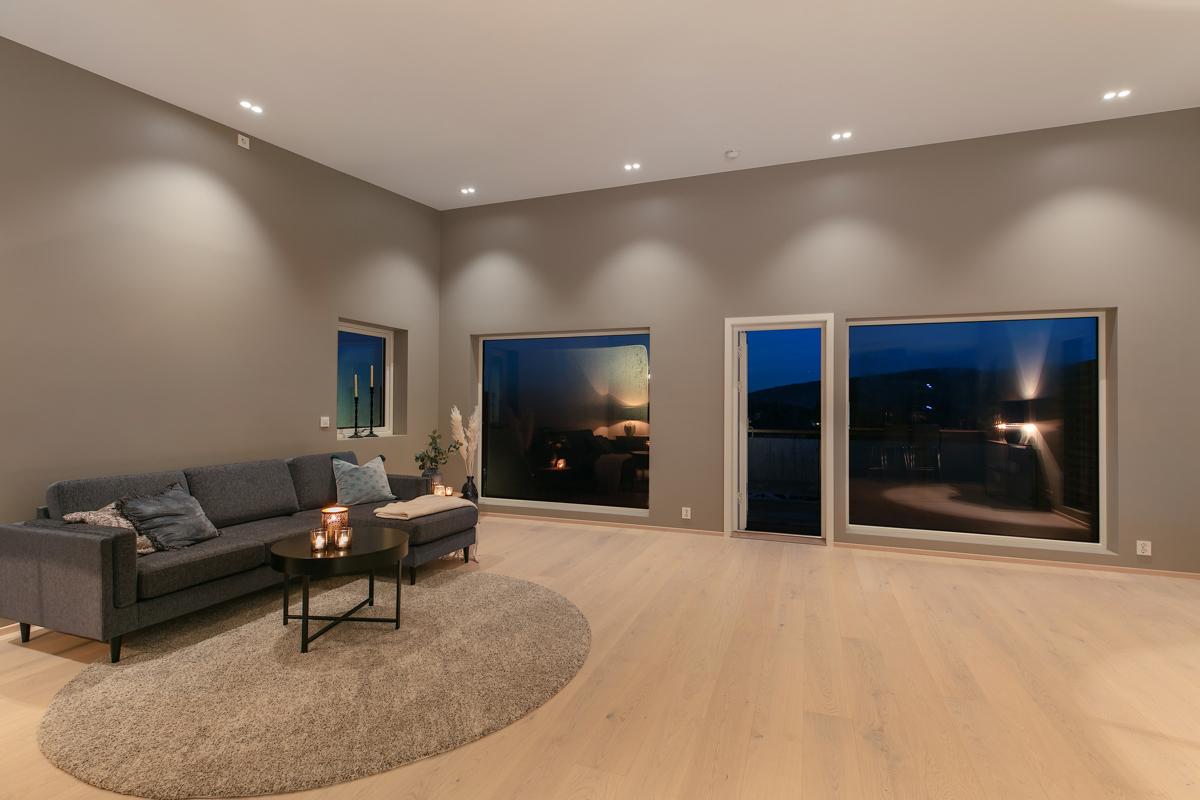 Koselig stue med utgang til balkong.