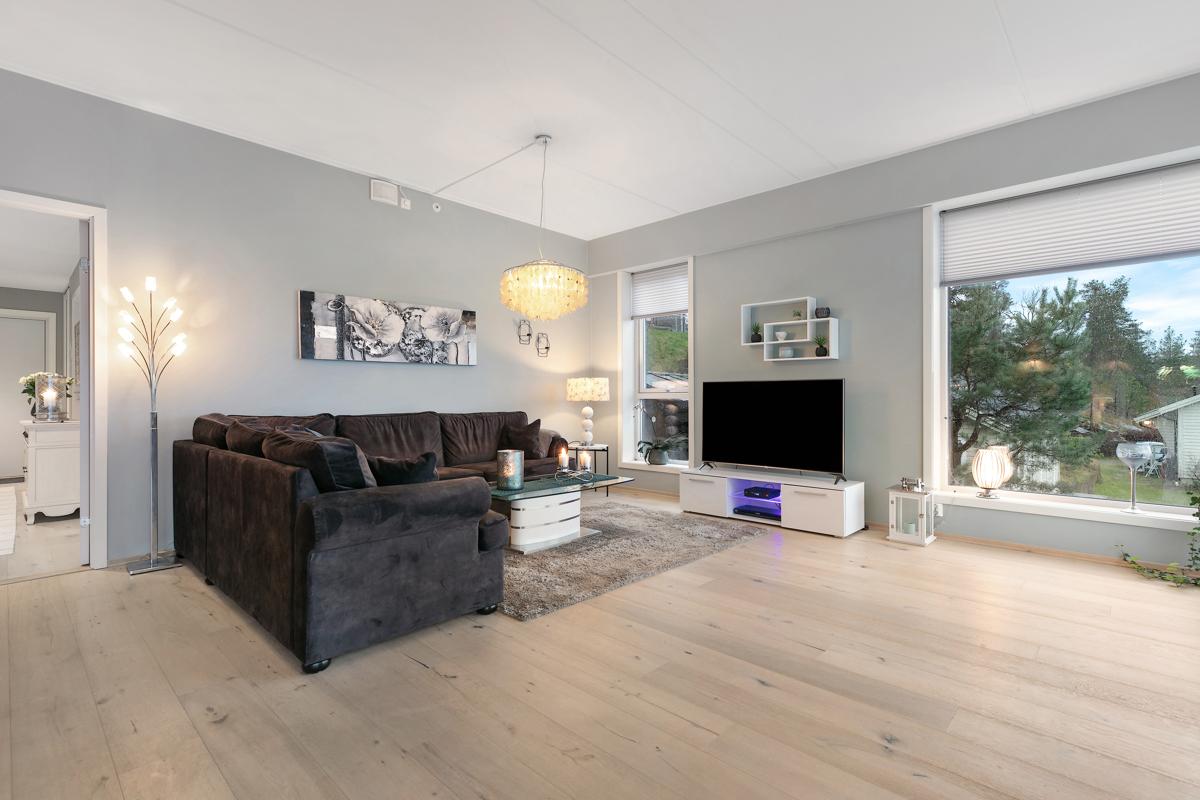 En tilsvarende leilighet i samme bygg har laget et ekstra soverom i deler av stuen.