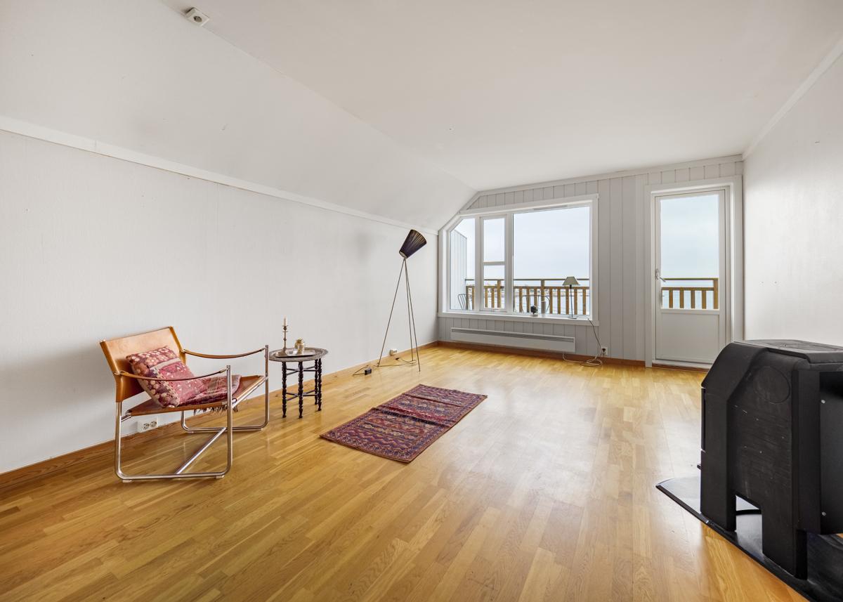 Stue med peisovn og utgang til balkong på ca 4 kvm