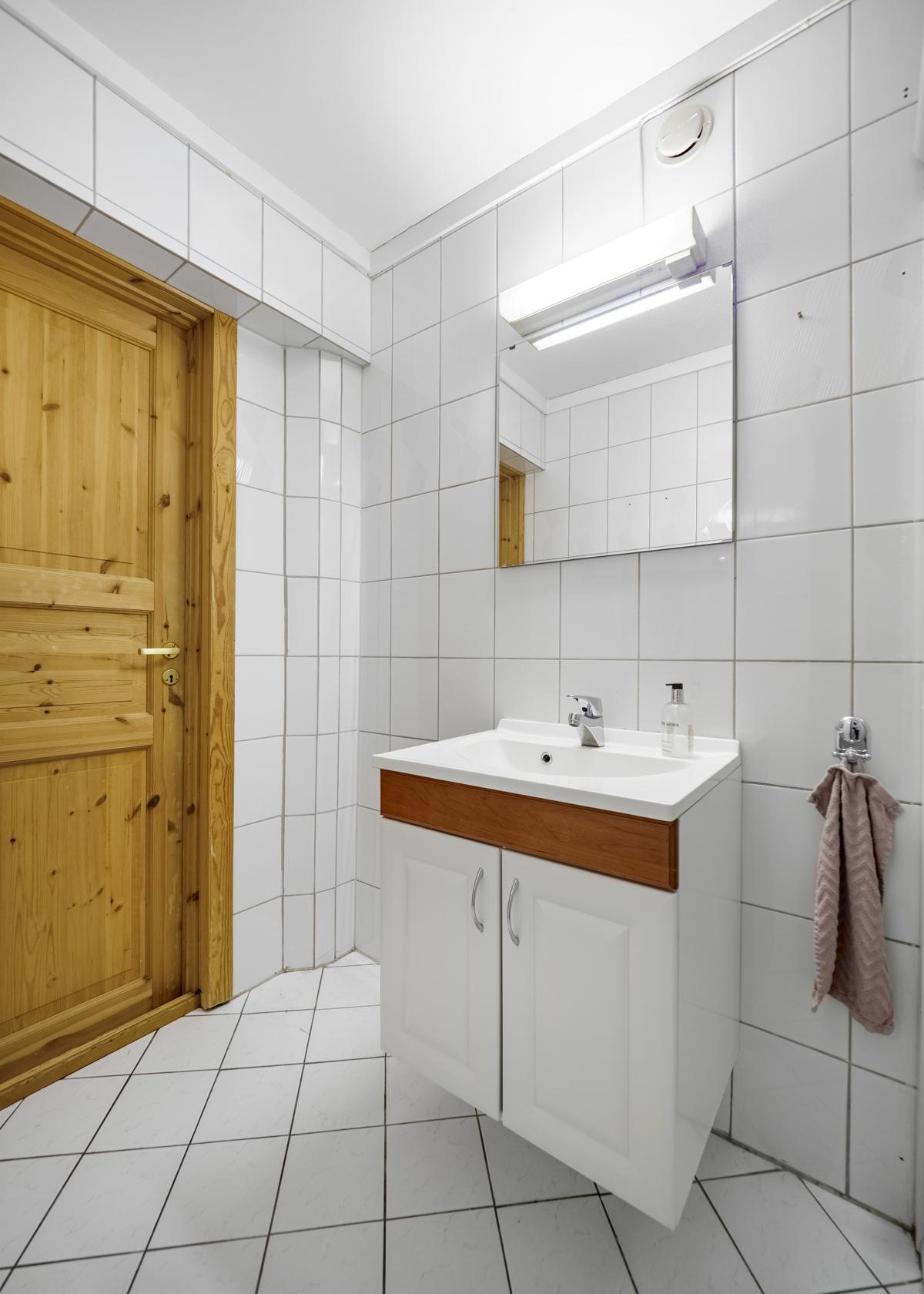 Flislagt bad med varme i gulv