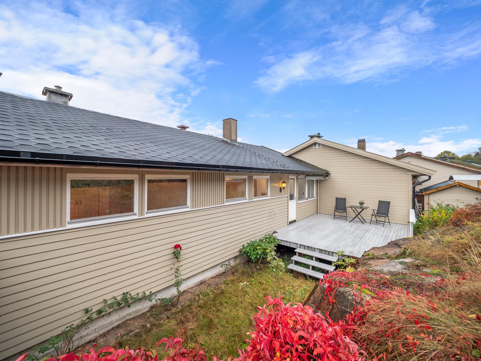 Tomt og terrasse på baksiden av huset.