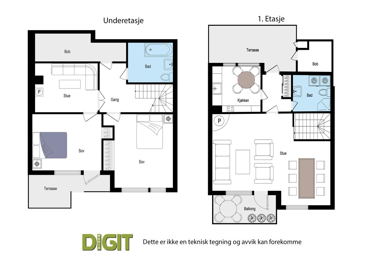 Planskisse begge etasjer