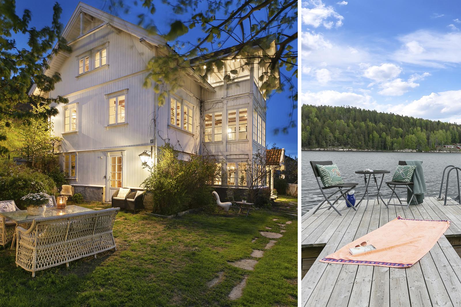 Flott, sjarmerende bolig 22 meter fra sjøen. Egen brygge