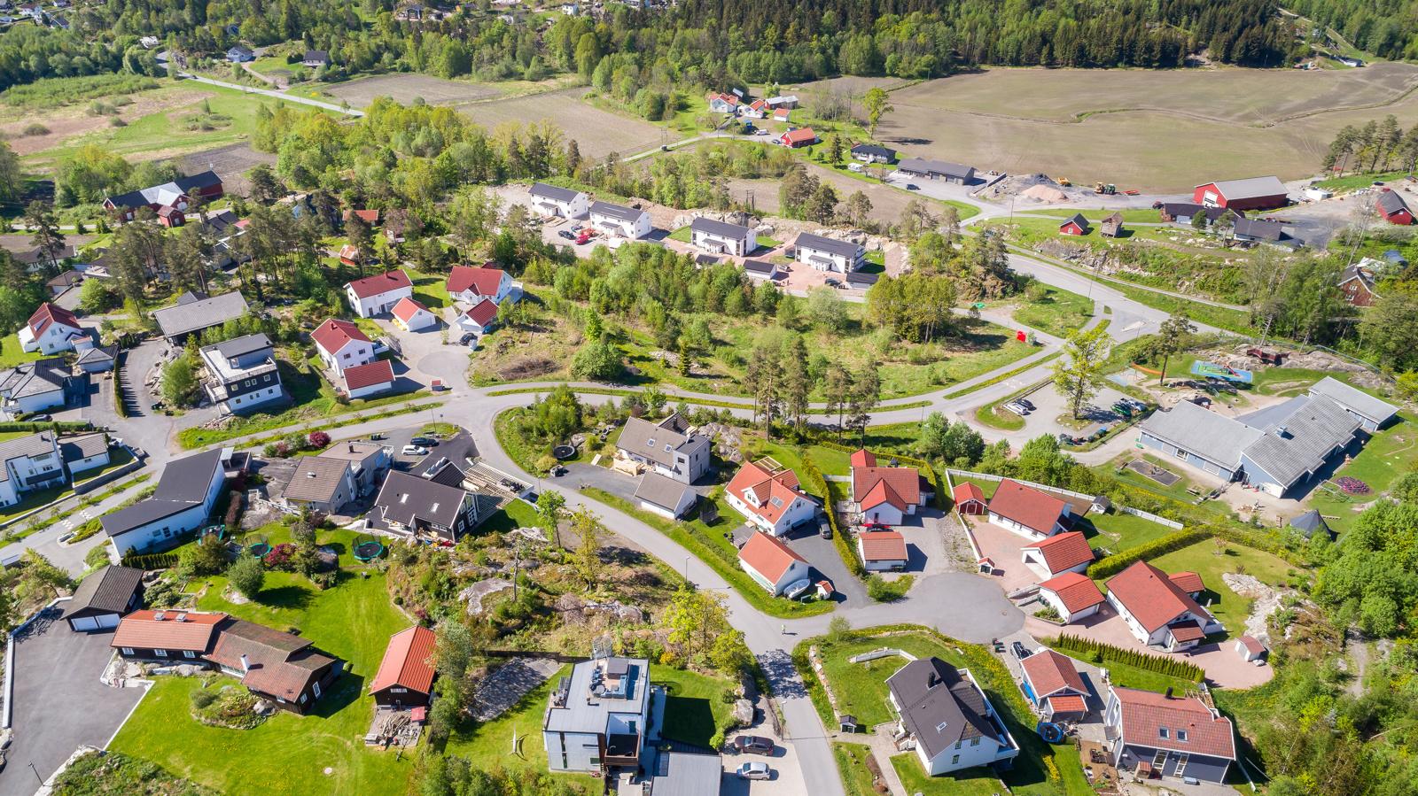 Dronefoto av byggefeltet