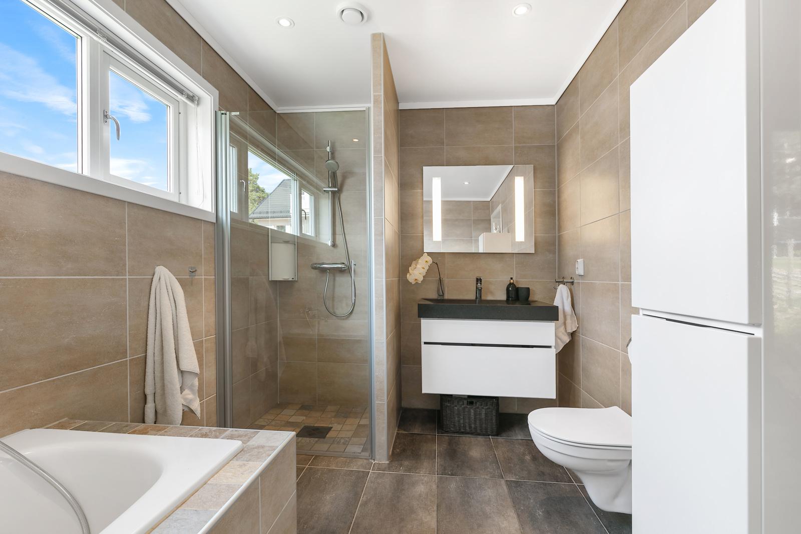 Badekar, dusjnisje og vegghengt wc
