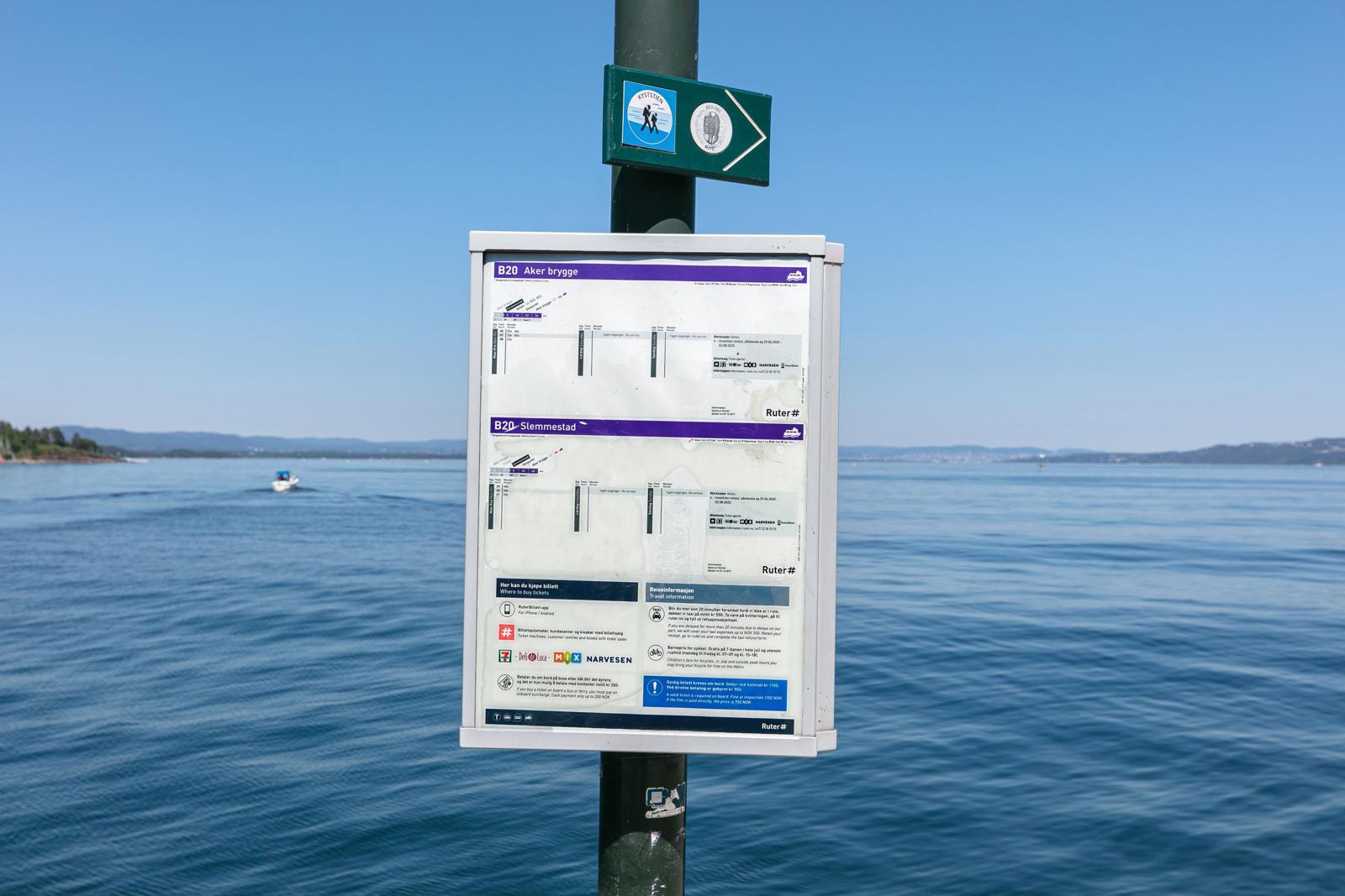 Rutetider for hurtigbåten til Vollen og Oslo