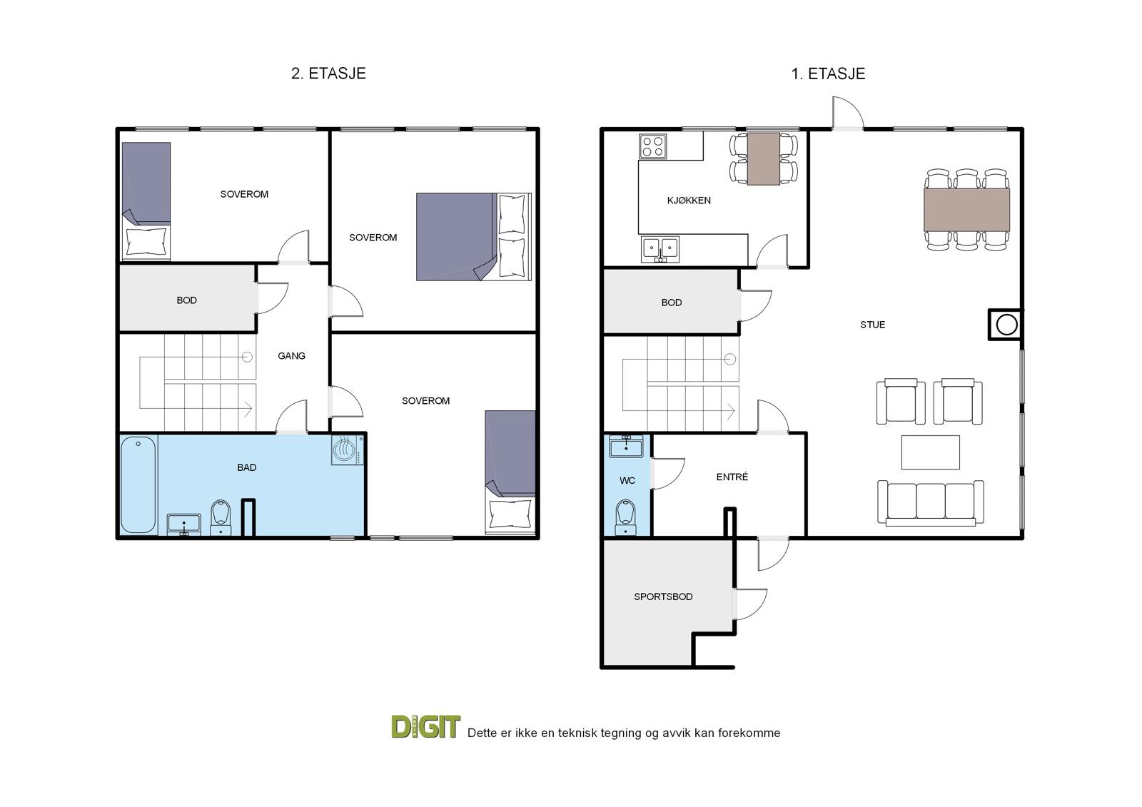 Planskisser begge etasjer