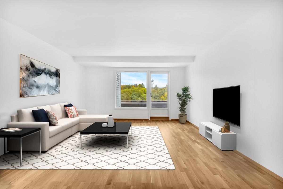 Denne 4-roms leiligheten ligger i 4. etasje på Nedre Haugen. Bildet er digitalt stylet.
