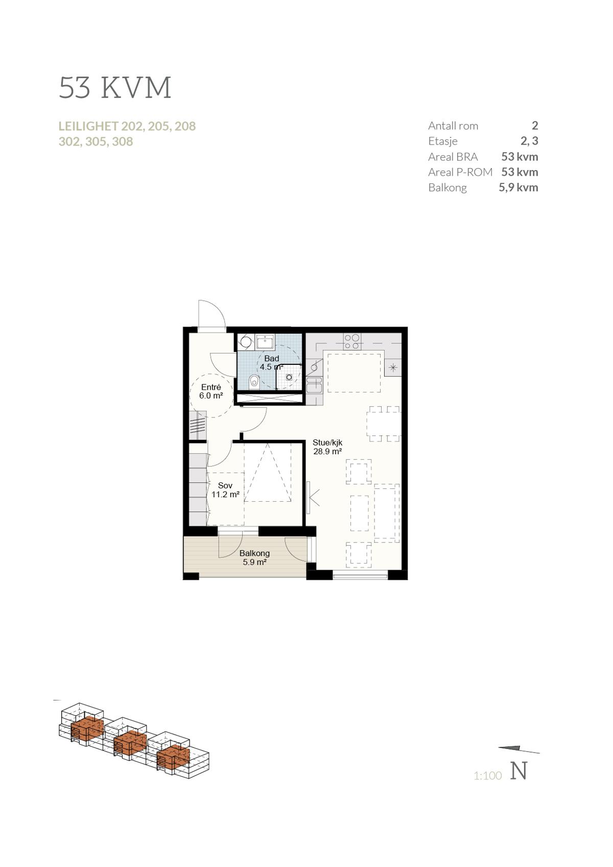 Plantegning leilighet 205