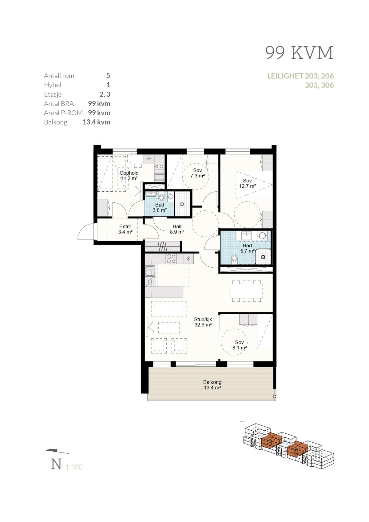 Plantegning leilighet 303