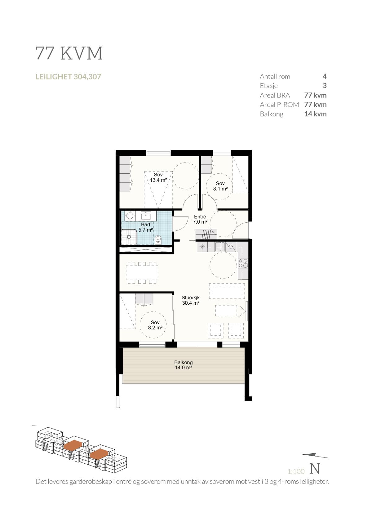 Plantegning leilighet 307