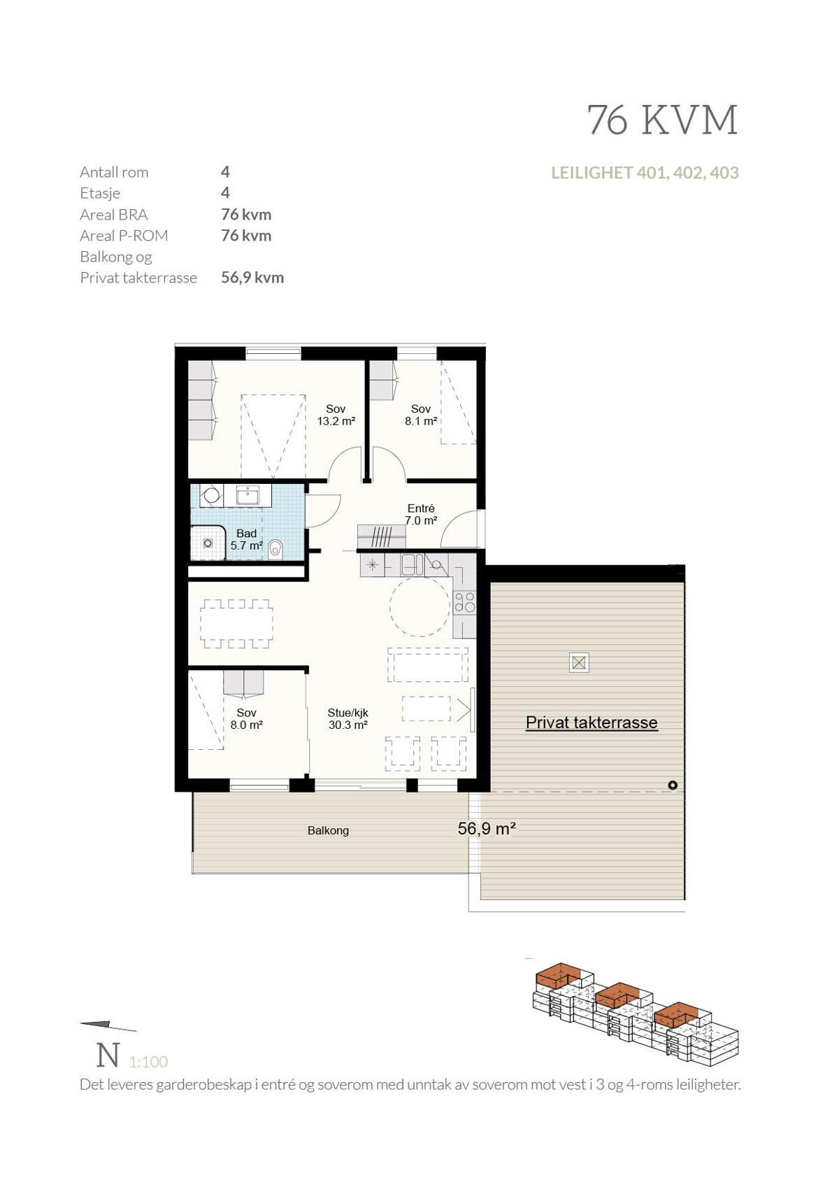 Plantegning Penthouse - 401